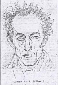 Dessin de Bernard Milleret illustrant l'article d'André Bourin, «Julien Blanc», Les Nouvelles littéraires, n°1019, 13 février 1947, p. 6
